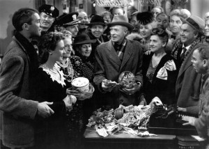 The end of the movie where the community is helping George Bailey out with the lost money.